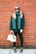 dark green vintage redesign scarf - light brown Isola boots