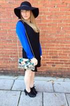 black Steve Madden boots - blue Target dress - black nixon hat
