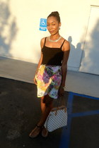 pink H&M skirt - white Louis Vuitton bag - black River Island top