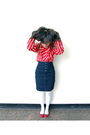 Red-blouse-blue-thrifted-skirt-white-tights-red-gap-shoes