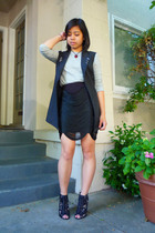 Alexander Wang vest - Uniqlo shirt - Topshop skirt - Lalique necklace - Givenchy