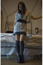 gray Target socks - black vintage skirt - black Stelle McCartney boots - gray He