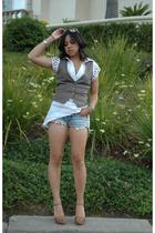 H&M vest - DIY shorts - Mk2k dress - Fendi shoes - vintage sunglasses - Bing Ban