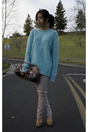 blue Opening Ceremony sweater - beige Helmut Lang leggings - pink Prada purse -