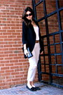 Black-wilfred-blazer-black-minnetonka-flats-silver-sevens-pants-burnt-oran