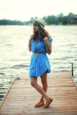 sky blue denim dress - yellow belt