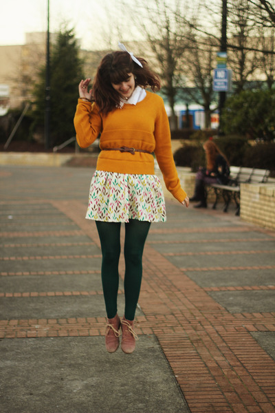 mustard sweater - coral suede boots - bubble gum leaf print dress
