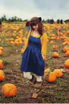 orange polka dot shirt - camel patterned boots - navy denim dress
