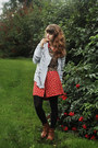 Bronze-boots-red-floral-dress-tawny-tiger-print-shirt-black-tights