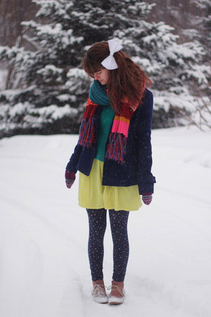 rainbow scarf - boots - zigzag dress - coat - sweater - floral leggings