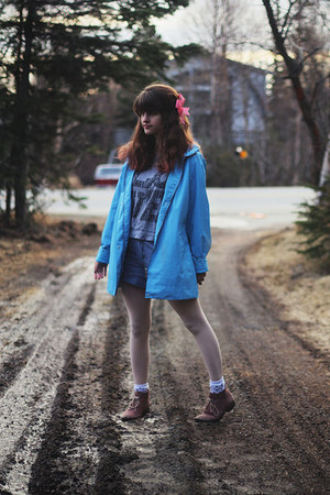 boots - rain jacket - love shirt - polka dot tights - pinstripe shorts - socks