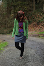 Heather-gray-dress-dark-green-sweater-blue-zigzag-shirt