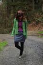 Heather-gray-dress-dark-green-sweater-blue-zigzag-shirt