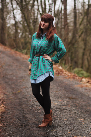 camel boots - turquoise blue jean dress - green plaid shirt
