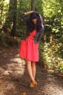 Salmon-dress-carrot-orange-belt-black-lace-cardigan-yellow-sandals