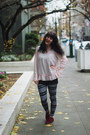 Maroon-shoes-dark-gray-leggings-navy-polka-dot-shirt-light-pink-lace-shirt