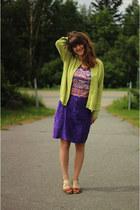 coral shirt - deep purple skirt - chartreuse cardigan