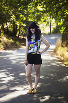 yellow belt - deep purple dress - black shorts - yellow sandals