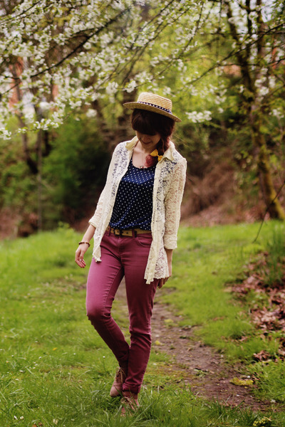 ivory lace cardigan - coral boots - beige polka dot hat - navy polka dot shirt