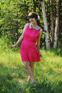 Hot-pink-sequin-dress-sky-blue-sneakers-green-flower-earrings-earrings