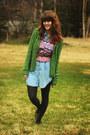 Sky-blue-denim-dress-dark-green-sweater-maroon-geometric-shirt-gray-tights