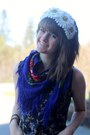 Purple-floral-dress-navy-floral-scarf-olive-green-forest-skirt