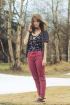 purple floral dress - navy leopard print cardigan - hot pink belt - coral pants