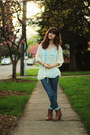Off-white-lace-shirt-sky-blue-striped-shirt-bronze-boots-navy-jeans
