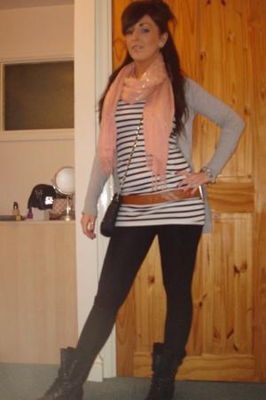 black garage boots - white H&M top - pink Primark scarf - silver Primark cardiga