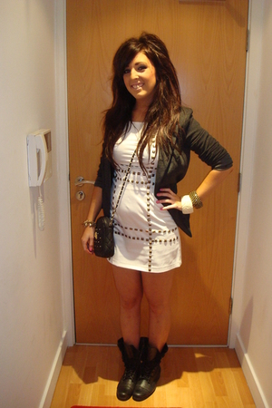 black garage boots - gray new look blazer - white AX Paris dress - black Topshop