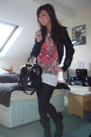black new look jacket - black garage boots - white All Saints t-shirt - black Mi