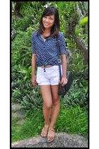 blue blouse - white shorts - black Marks & Spencer purse - gold Grendha shoes