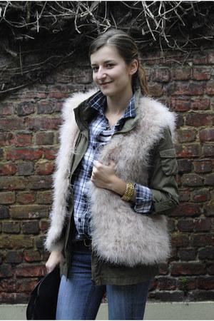 light pink feather Zara vest - blue Mango jeans - army green H&M jacket