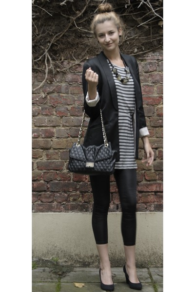 black H&M blazer - gray Mango dress - black H&M leggings - black Dunnes Store ba