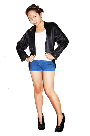 black Max jacket - blue Esprit shorts - white Max top
