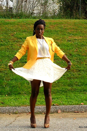 tawny H&M heels - yellow thrifted vintage blazer - ivory Marshalls shirt
