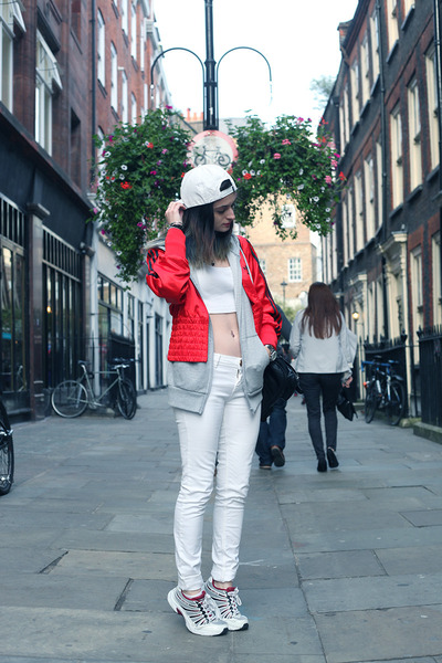 street style Boy London hat - red street style Adidas jacket