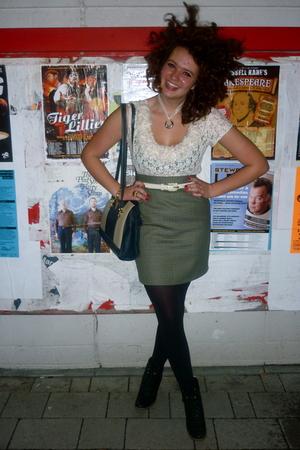 vintage skirt - Marks and Spencers shirt - vintage purse - made it myself neckla