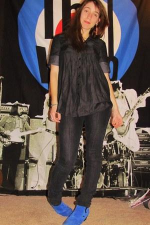 navy random brand jeans - random brand blouse - blue underground england