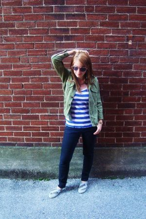 pink Urban Outfitters sunglasses - green vintage jacket - blue Urban Outfitters