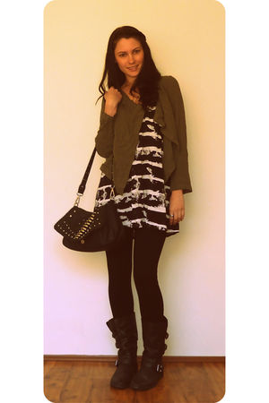 Dotti jacket - Shilla dress - Honey and Beau tights - betts boots - Novo bag