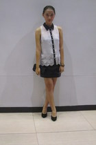 ivory Rockwell top - black leather skirts black skirt - black velvet black pumps