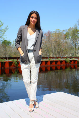 gray White & Warren blazer - beige Zara pants - gray H&M - silver Zara top