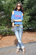 blue Zara jeans - brown Chloe shoes - brown Topshop belt - blue LF stores t-shir