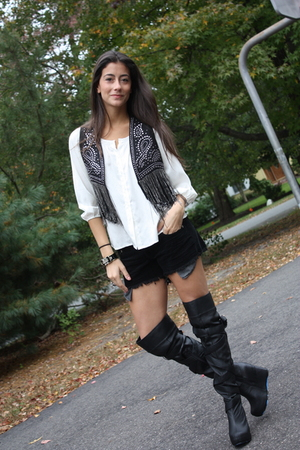 Express blouse - Millau vest - Car-Mar shorts - Jeffrey Campbell for LF Stores b
