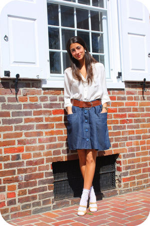 white Zara blouse - blue See by Chloe skirt - white Urban Outfitters socks - bei