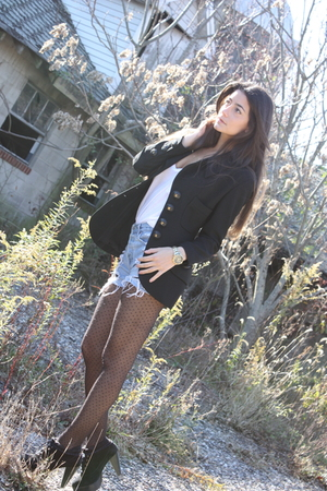 Chanel blazer - shorts shorts - Club Monaco tights - Charlotte Ronson shoes - ba