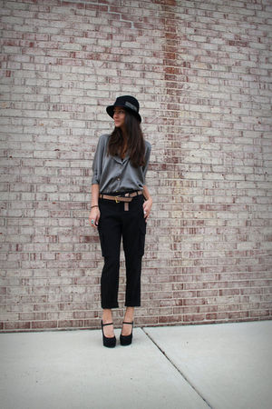 gray Myne top - black NY & Company pants - black Forever 21 shoes