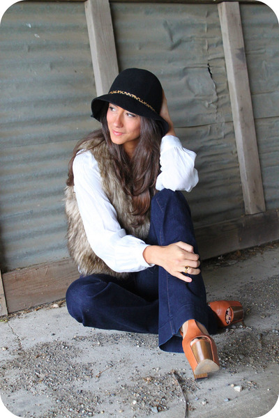 brown TJ Maxx vest - blue J Brand jeans - black TJ Maxx hat