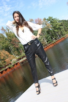 Zara blouse - Zara pants - Zara belt - American Apparel bra - YSL shoes